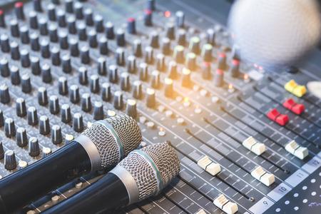 acoustics: Wireless Condenser Microphone in Audio Control Room. Stock Photo