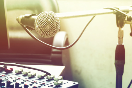 Microphones and audio recording devices on the office desk.Photo Filter Color.
