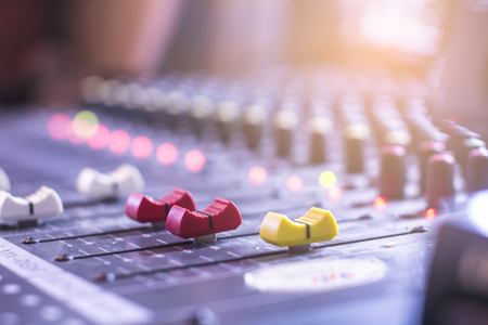 Audio control buttons for professional sound engineers Selective focus