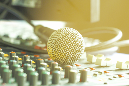 voices: Analog microphone in the office.