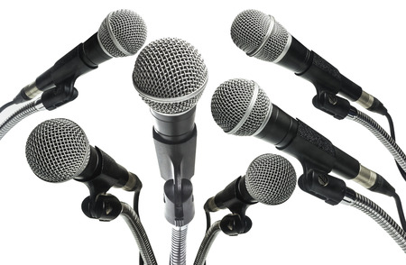 Microphone white background. Clipping path.