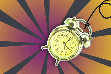 Retro alarm clock with bright colored backgrounds.