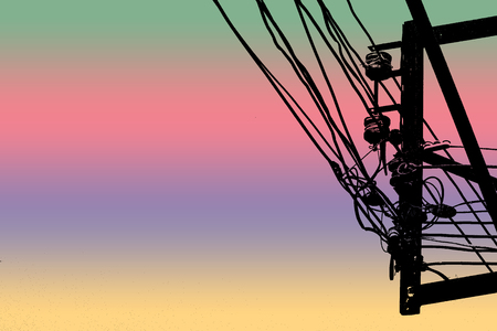 Silhouette shapes of utility poles and power lines damaged. Photo color filters for background. Foto de archivo