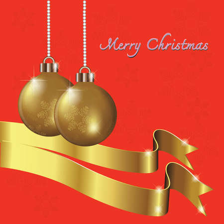 Golden Christmas ball on a red background. Illustration