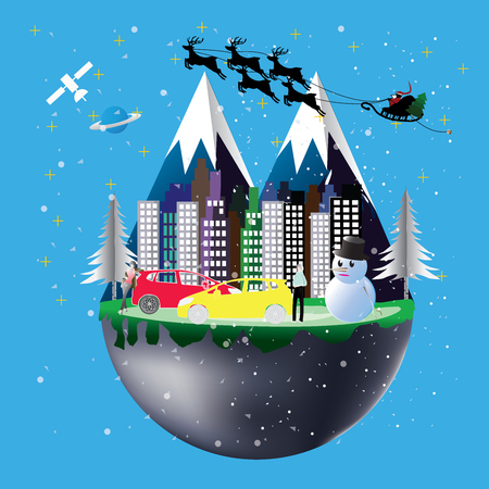 Civilized city in the world with a snowman, Santa Claus and the people are happy on Christmas.