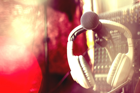 Microphones and recording equipment in the studio.