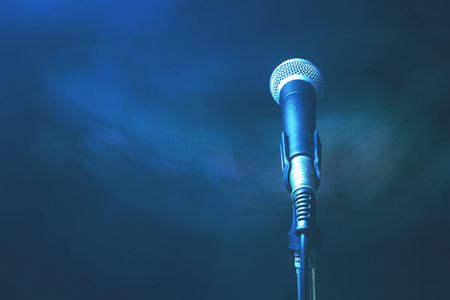 Analog microphone on stand. Stock Photo