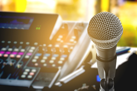 The microphone with recording equipment Imagens