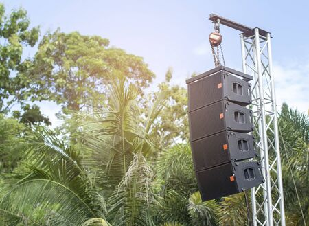 Outdoor work with hanging speakers with audio system sets.