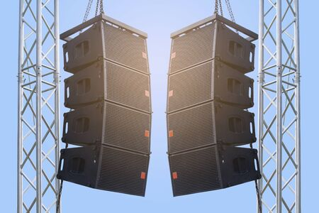 Black speaker hanging on a stand  Sound System in concert. Clipping path. Stockfoto