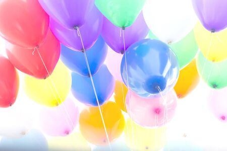 Vintage style balloons floating sky background.
