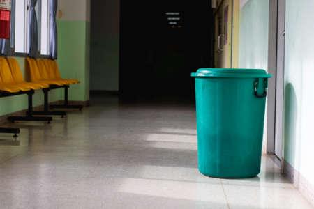 Big green garbage bin in hospital. Garbage bin for general waste.