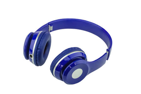 The blue headphones on a white background clipping path.