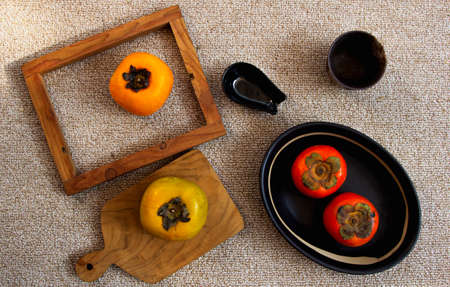 Persimmon fruit healthy on the table.