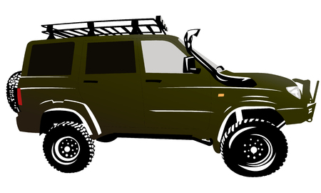 motorized sport: Offroad car 4x4 suv Illustration