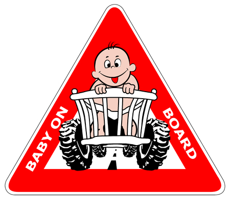 4x4: Baby on board. A warning plate with a very loose baby driving in a pram. Illustration