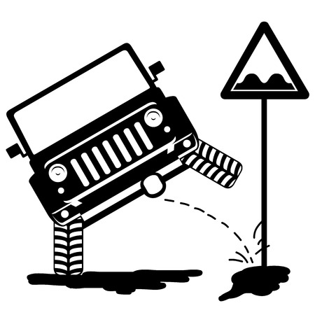 humor: Humor illustration - in front offroad car pissing on the sign rough road. Silhouette for cutting