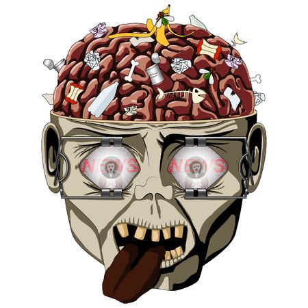 ゾンビ見て脳、頭蓋骨を開くとたくさん破片の広い目のエキスパンダー、ニュース メディアの時計