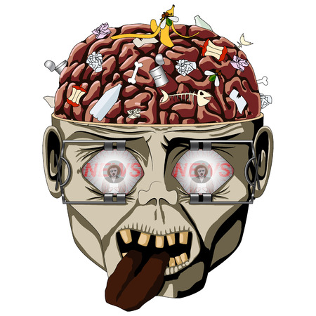 Zombie open the skull, brain seen and a lot of debris, wide eyes expanders, watches the news media Illustration