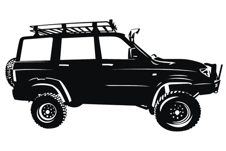 オフロードカー 4 × 4 suv ベクター シルエット
