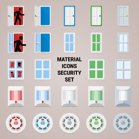 sensors: Material disign icons security set. the most common sensors for security systems home and office Illustration