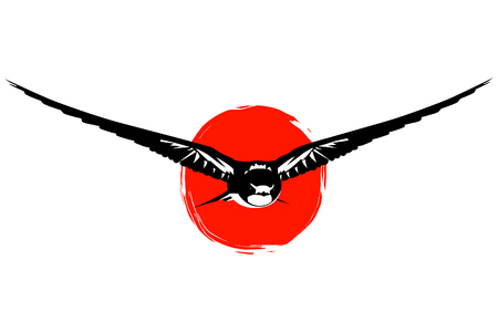 swallows: Swallows at red sun silhouette Illustration