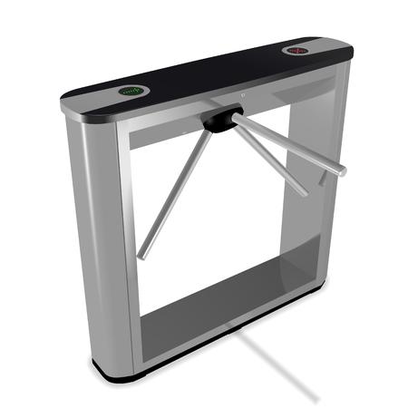 3D box tripod turnstile illustration isolated on white background