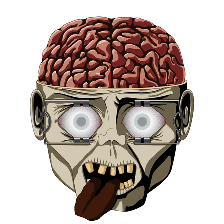 scary face: Zombie open the skull, the brain is visible, eyes wide and expanders