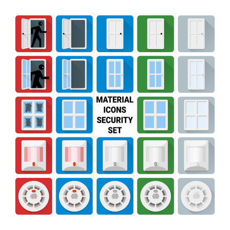 sensors: Material disign icons security set. Door relay, window, glass break, infrared PIR, smoke sensors. Illustration