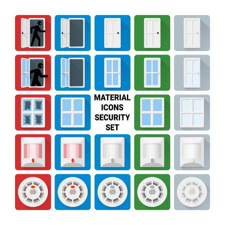 Material disign icons security set. Door relay, window, glass break, infrared PIR, smoke sensors. Illustration