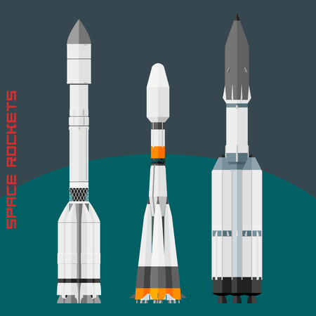 rocket ship: Russian space rockets set. Cargo rocket Proton, universal new Soyuz 2-3 and Angara 5A