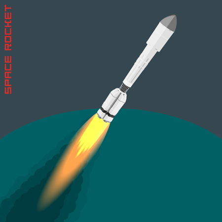 proton: Cargo space rocket Proton. isometric illustration with fire, smoke and speed