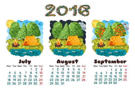 quarter: calendar 2016 3 quarter of the year, nature round lowpoly pixel art