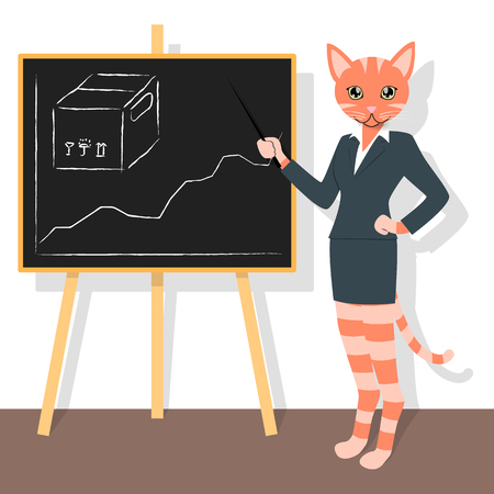 Orange cat woman pointing to the sales chart of cardboard boxes
