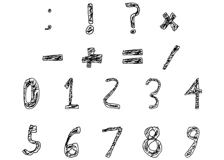 filled: Hand Drawn Child Numbers and Basic Math Signs Filled Bold, Vector Illustration Illustration