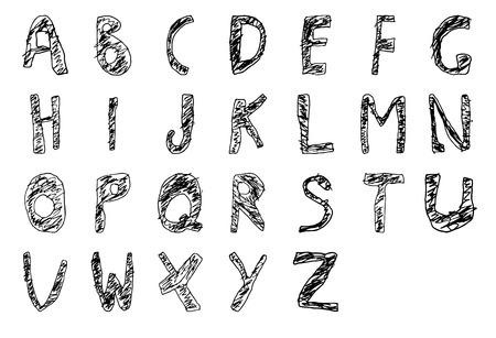 filled: Hand drawn child English alphabet Filled Bold. Vector illustration.