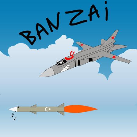 Satire humor sketch. Russian plane attacks the turkey rocket.