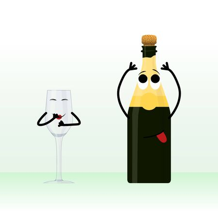 A glass and a bottle of champagne waiting for holiday. Doodle illustration with a hint Illustration