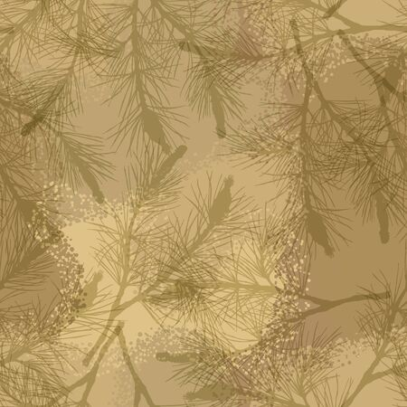 pine branch: Pine branch seamless pattern camouflage sand. Illustration