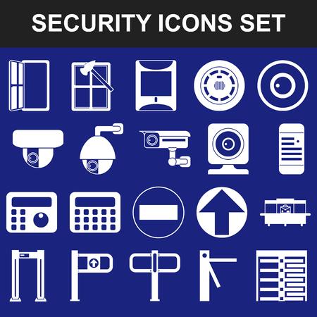 Video surveillance metal and alarm detectors turnstiles. Security icons