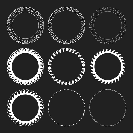 snow tires: Tire Track Vector Round Border Frame Set. Overlay Design Frame Illustration