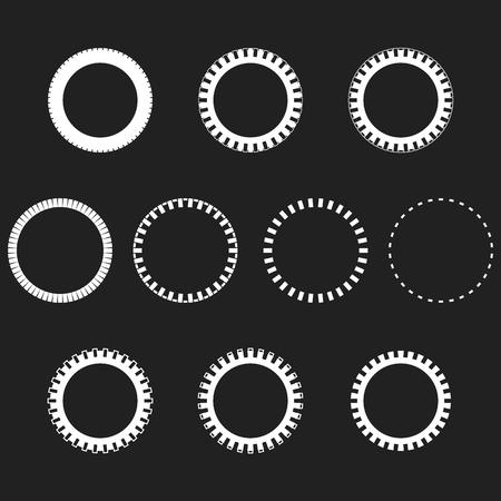 Tire Track Round Border Frame Set. Overlay Design Frame