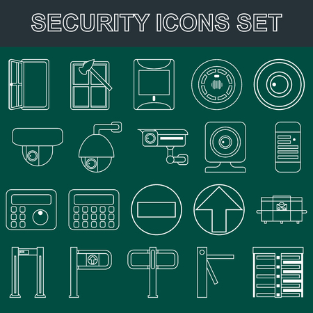 detectors: Video surveillance metal and alarm detectors turnstiles. Security icons