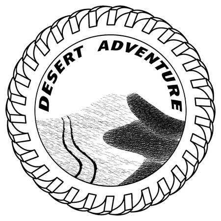 sand dunes: traces of an sport utility vehicle SUV on sand dunes in the desert Vector illustration