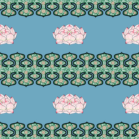 golden daisy: Seamless pattern with chinese ornament peony flower