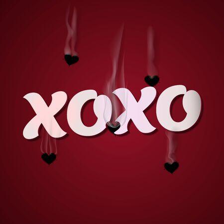 xoxo: XOXO, Happy Valentines Day Cupid shoots bullets of hearts Illustration