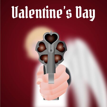 carries: Happy Valentines Day Cupid carries a gun