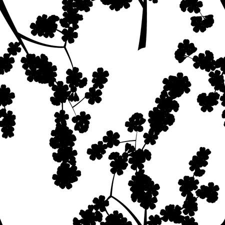 Nahtlose Blumenmuster mit schwarzer Kirsche Sakura-Blüten Silhouette Standard-Bild - 50537741