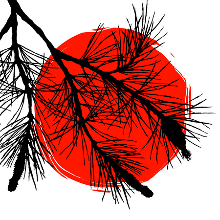 sumi e: Silhouette pine tree branch and big red sun, symbol of Japan. Vector illustration