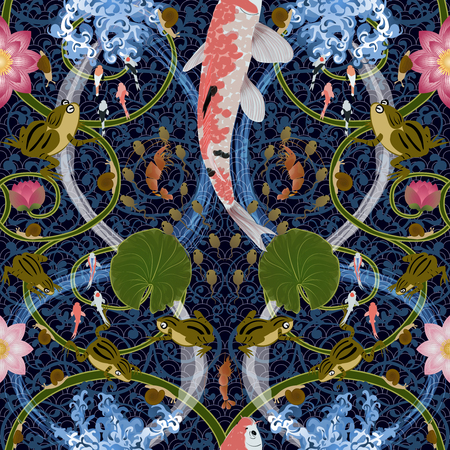 seamless pattern with lotus and carps koi, frog floating on the waves